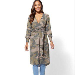 New York & Company Army Camouflage Shirt Dress XS